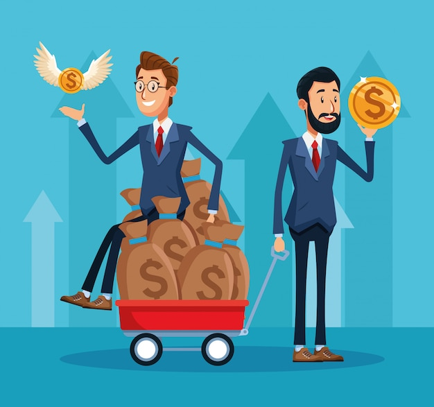 Cartoon businessman sitting on money bags on trolley and businesman holding a money coin