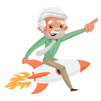 Мультяшный бизнесмен сидит на ракете и летит