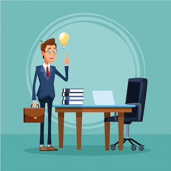Cartoon businessman standing in front of office desk with laptop computer and books