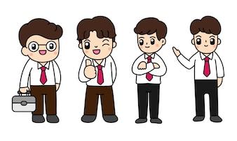 Cartoon businessman vector illustration.