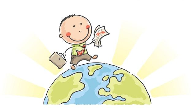 Cartoon businessman walking on earth