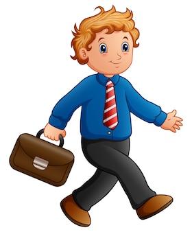 Мультяшный бизнесмен, ходить с портфелем
