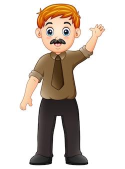 Мультяшный бизнесмен машет рукой