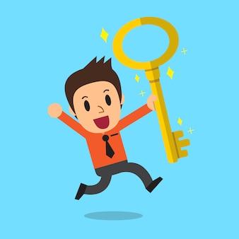 大きな金色のキーを持つ漫画のビジネスマン