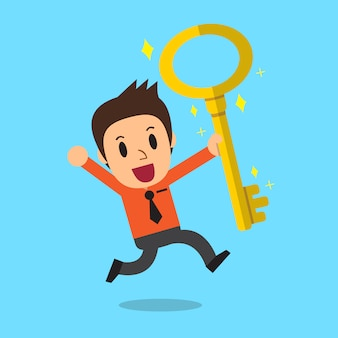 Cartoon businessman with big golden key