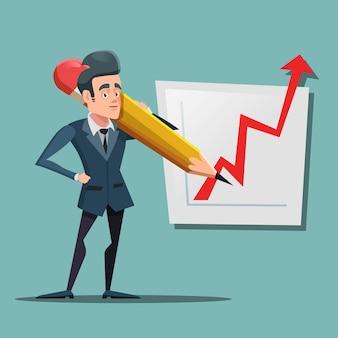 Мультфильм бизнесмен с большой карандашный рисунок графика роста. планирование бизнеса.