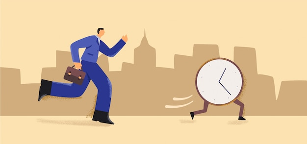 Cartoon businessman with briefcase run try catch alarm clock at city background