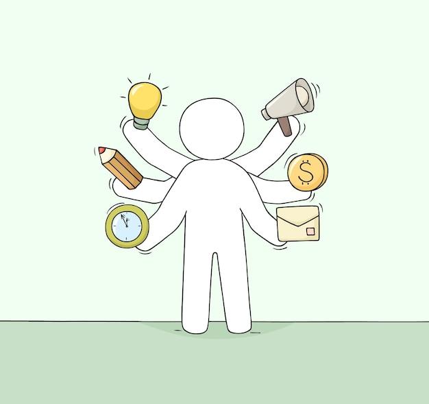 Мультфильм бизнесмен со многими руками. оттянутая рука