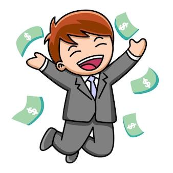 Мультфильм бизнесмен с деньгами