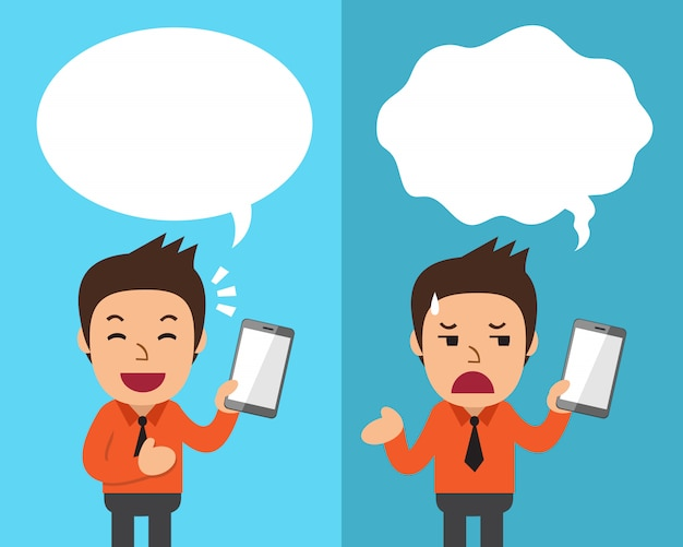 Cartoon businessman with smartphone expressing different emotions with speech bubbles