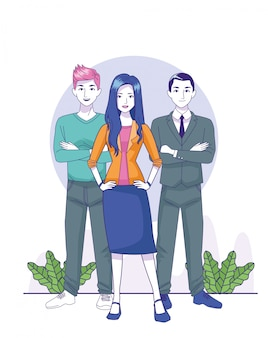 Cartoon businessman with young woman and man standing