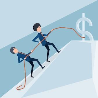 Cartoon businessmen climbing the mountain with money sign