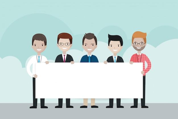 Cartoon businessmen  holding blank board