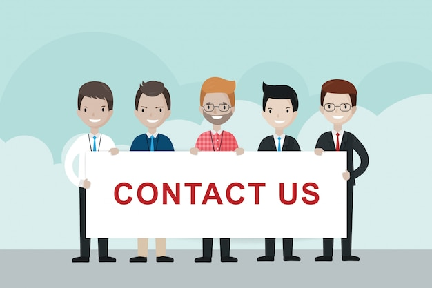 Cartoon businessmen  holding contact us sign