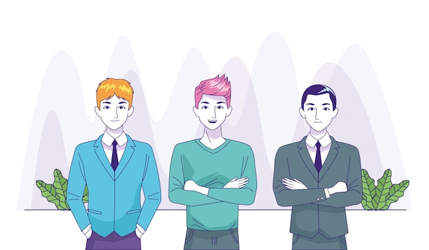 Cartoon businessmen and man standing on white