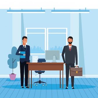 Cartoon businessmen working
