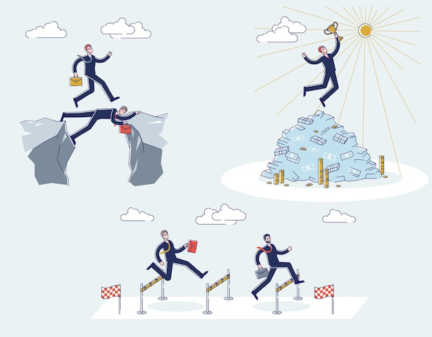 Мультфильм бизнесменов, проходящих мимо, держат кубок победителя