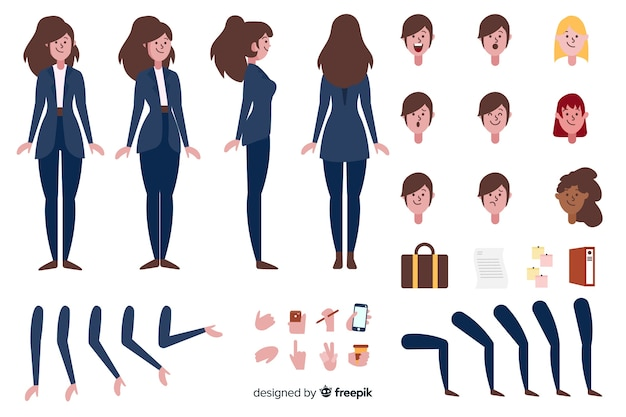 Cartoon businesswoman character template