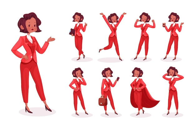 Cartoon businesswoman in different scenes