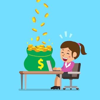 Cartoon businesswoman earning money