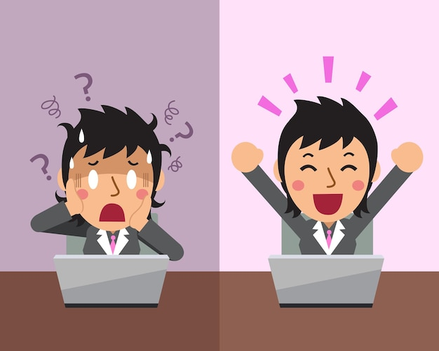 Мультфильм бизнесвумен, выражая разные эмоции