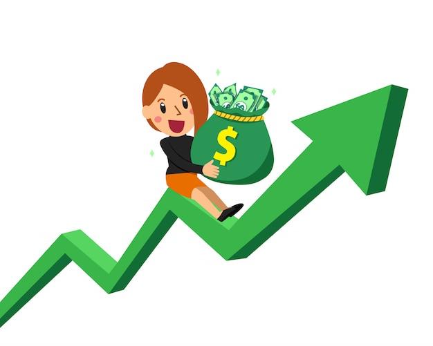 Cartoon businesswoman holding money bag on green arrow