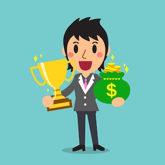 Мультяшная бизнес-леди держит мешок с трофеями и деньгами