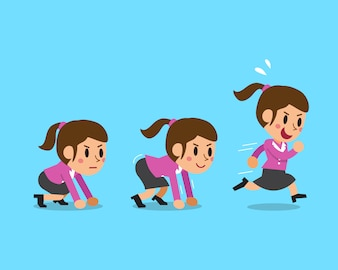 Cartoon businesswoman running step