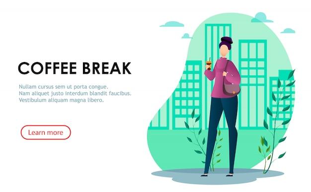 Cartoon businesswoman while coffee break