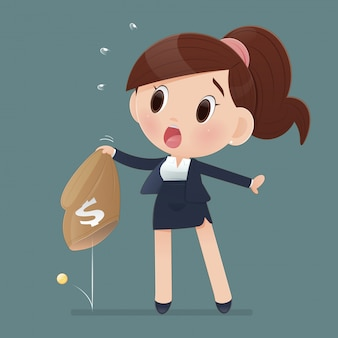 Cartoon businesswoman in workwear and bad economy. women losing money from a bag. the concept of business  illustration.