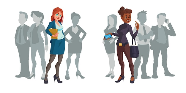 Cartoon businesswomen stand out of crowd