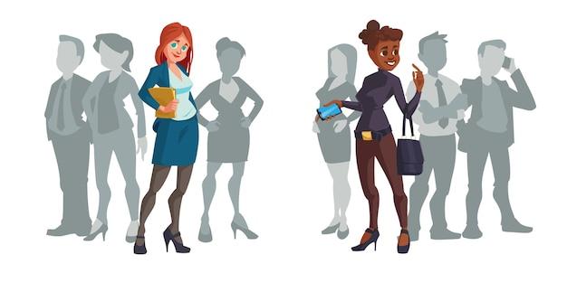 Мультяшные деловые женщины выделяются из толпы