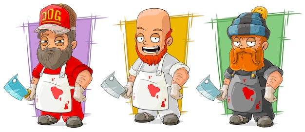 Cartoon butcher with knife character