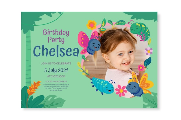 Cartoon butterfly birthday invitation template with photo