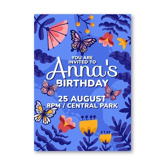 Cartoon butterfly birthday invitation template
