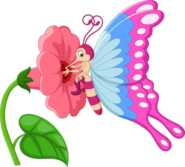 Cartoon butterfly with flowers isolated