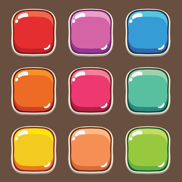 漫画のボタンセットゲーム、モバイルゲームのgui要素