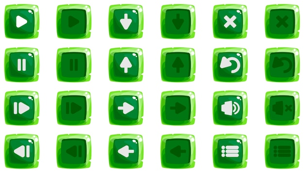 Cartoon buttons set game with icon kit of icons green color in two positions