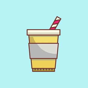 Cartoon c fee cup icon with a tube. illustration in a flat style