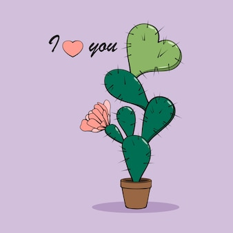 Cartoon cactus in pot with heart and pink flower. I love you.