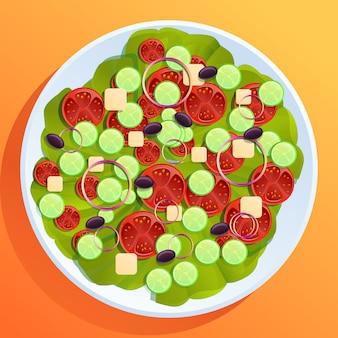 テーブルの上の漫画のシーザーサラダ