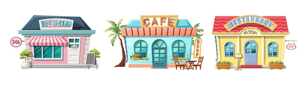 Cartoon cafe, restaurant and ice cream place.