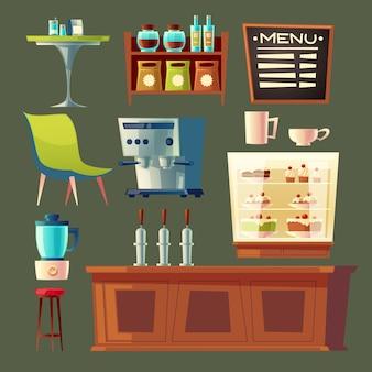 漫画のカフェセット - コーヒーマシン、食器棚、テーブル。