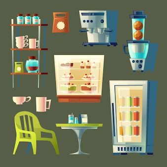 Cartoon cafe set - coffee machine, cupboard with utensil and table.