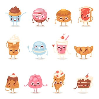 Cartoon cake character chocolate sweets confectionery cupcake emotion and sweet confection dessert with caked candies illustration confected donut in bakery set isolated on white background