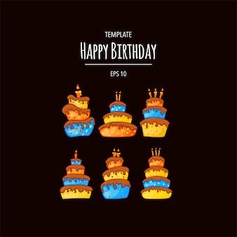 Cartoon cake illustration with candle. happy birhday. set.