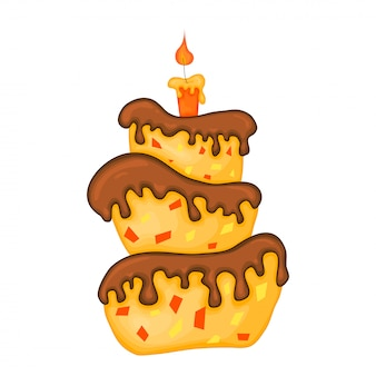 Cartoon cake illustration with candle. happy birhday.