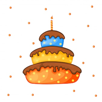 Cartoon cake illustration with candle. happy birhday.