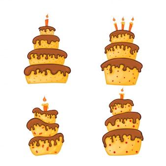 Cartoon cake illustration with candle. happy birthday set.