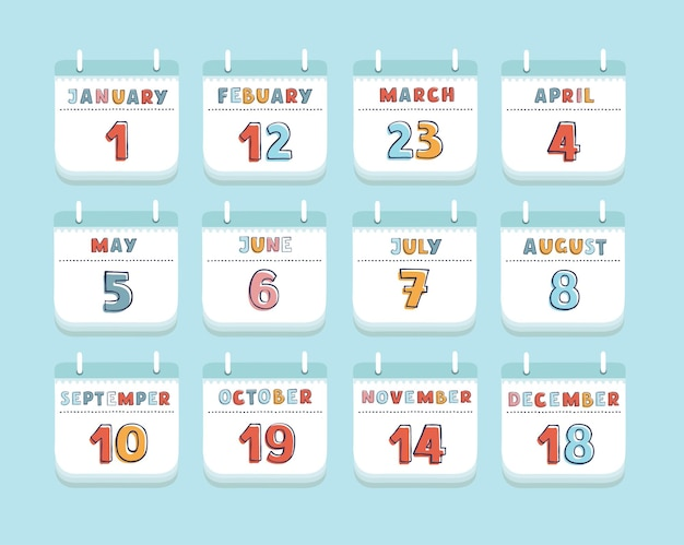 Cartoon of calendar month current year set stationery or reminder modern web design element. set of years months with day.